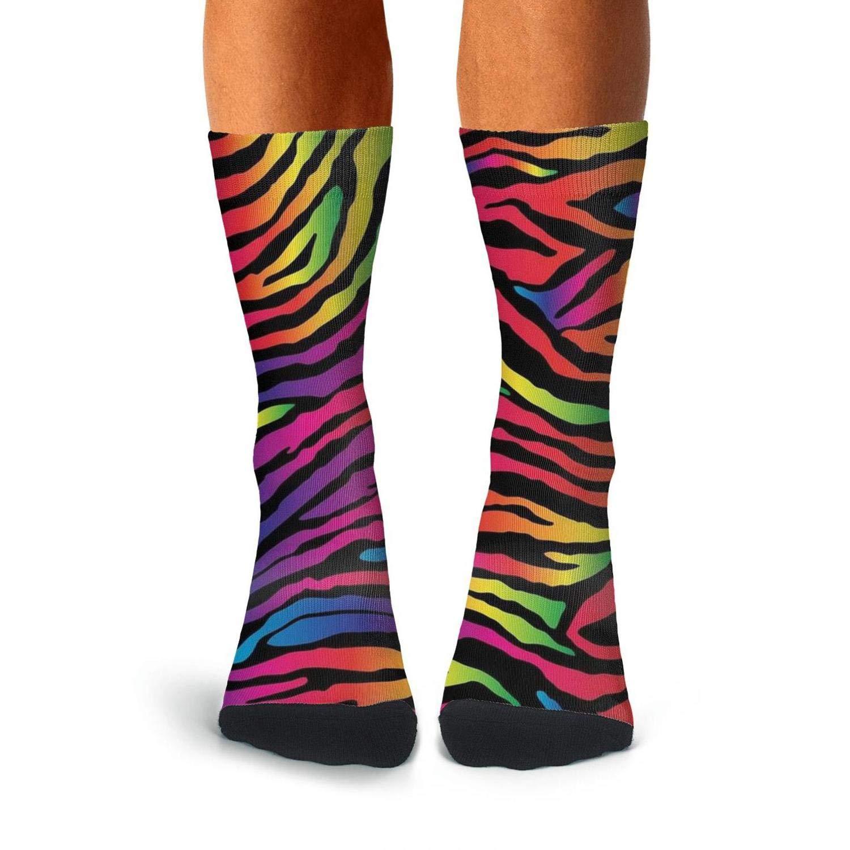 KCOSSH Zebra Stripes Crazy Crew Sock Print Calf Socks for Men