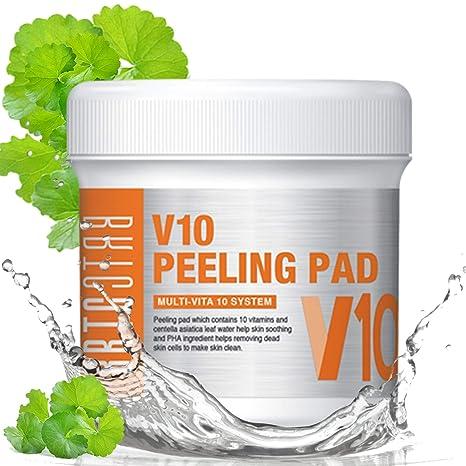 BRTC V10 Almohadilla de pelado (80 toallitas), 10 vitaminas y Centella Asiatica hoja de agua ayuda ...
