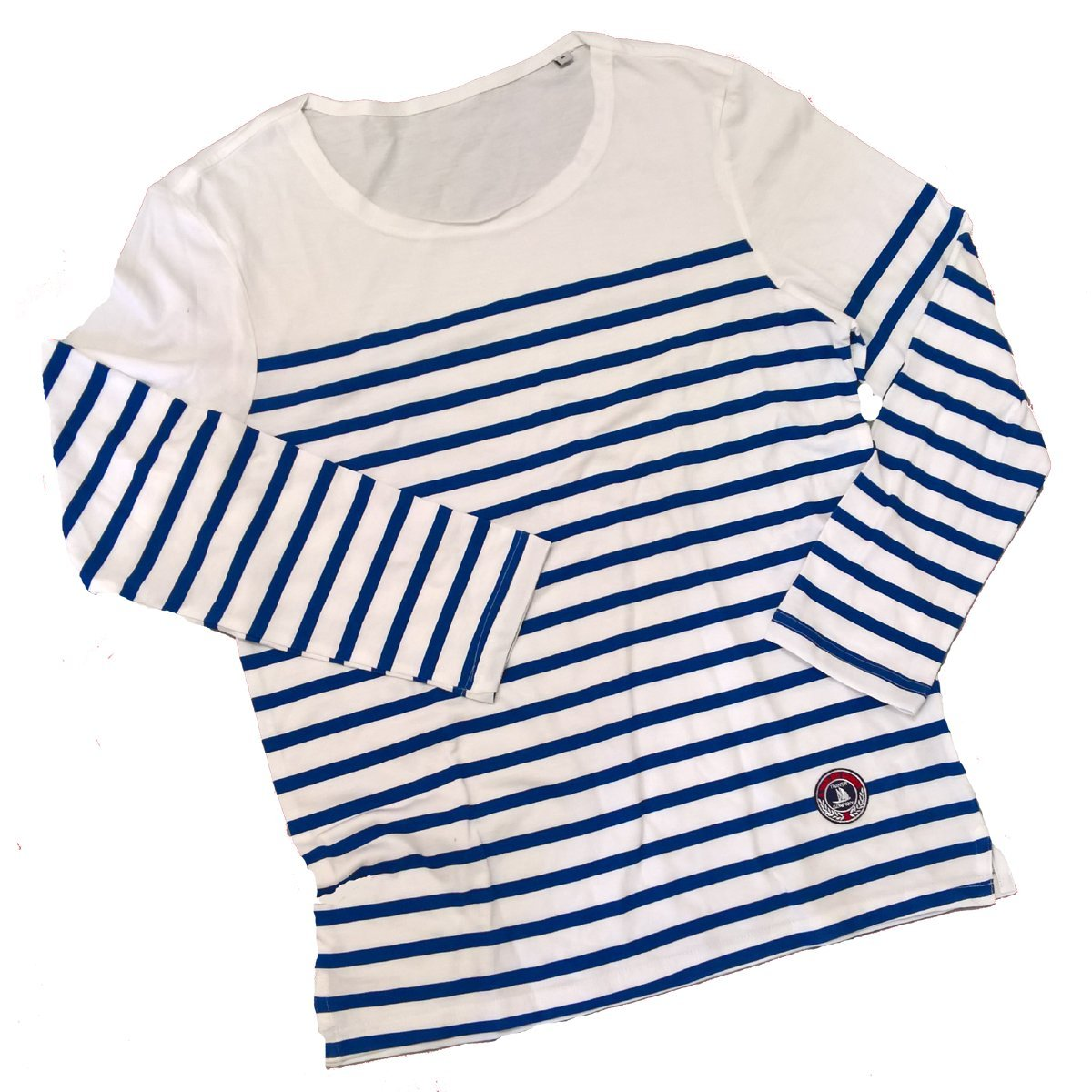 Col Bord Franc Grungy Taille Rayures Bleu Roy VIA PRINT Marini/ére enfant Bulle Manches Longues 10 Ans