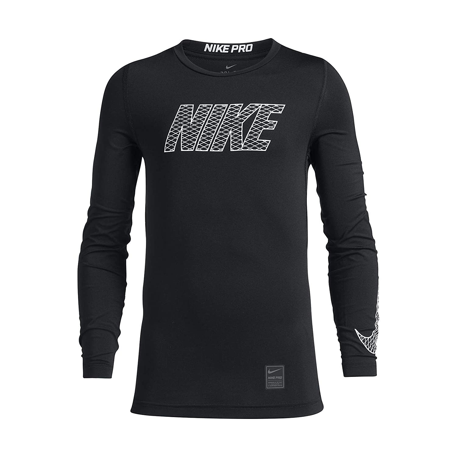 Nike Pro Top Crew LS Compression Shirt, Children's, Pro Top Crew LS Children's 858232-010