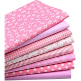 """iNee Pink Fat Quarters Quilting Fabric Bundles, Sewing Fabric for Quilting Crafting, 18""""x22""""(Lovely Pink)"""