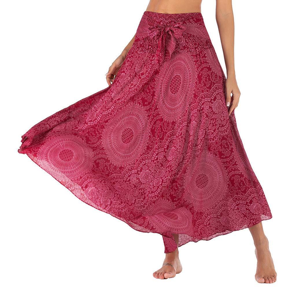 ZYUEER Falda Larga Mujer Elegante Largo Hippie Bohemio Gypsy Boho ...