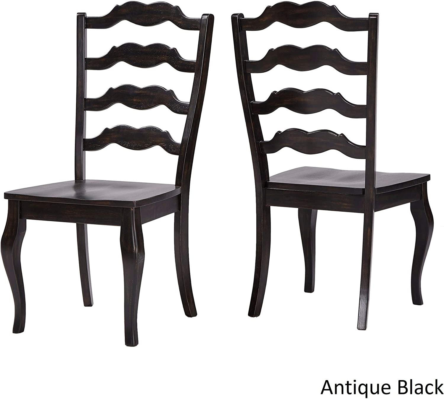 Inspire Q Eleanor French Ladder Back Wood Dining Chair Set of 2 by Classic Black Antique