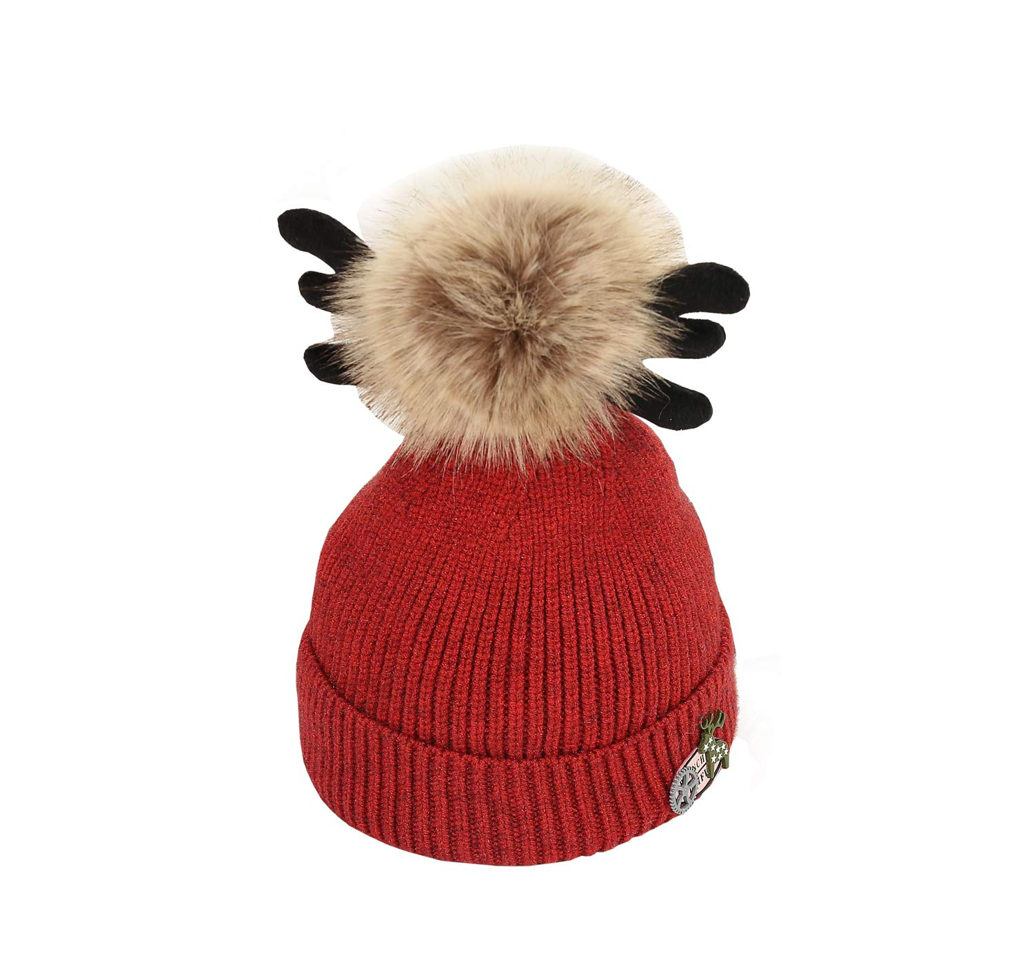 ACVIP Little Girl's Knit Pom Reindeer Antlers Winter Skull Cap (red) by ACVIP (Image #1)
