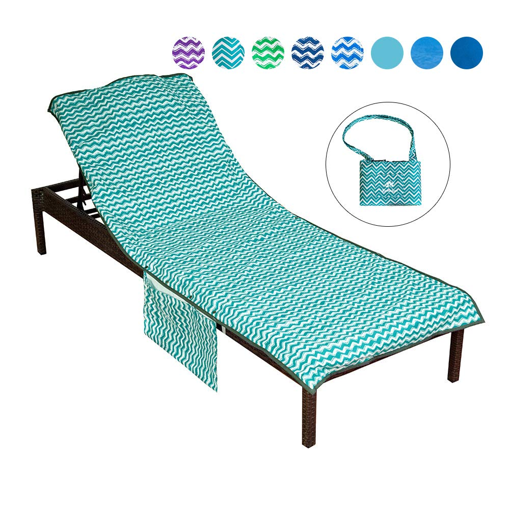 Runpilot Lounge Chair Cover Beach Towel with Pillow,Thickened Pool Lounge Chair Cover with Pockets Holidays Sunbathing Quick Drying Terry Towels by Runpilot