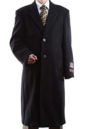 Men's Single Breasted Black Wool Cashmere Full Length Topcoat Size ...