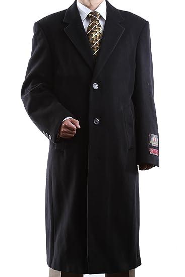 080bb5888 Men's Single Breasted Black Wool Cashmere Full Length Topcoat