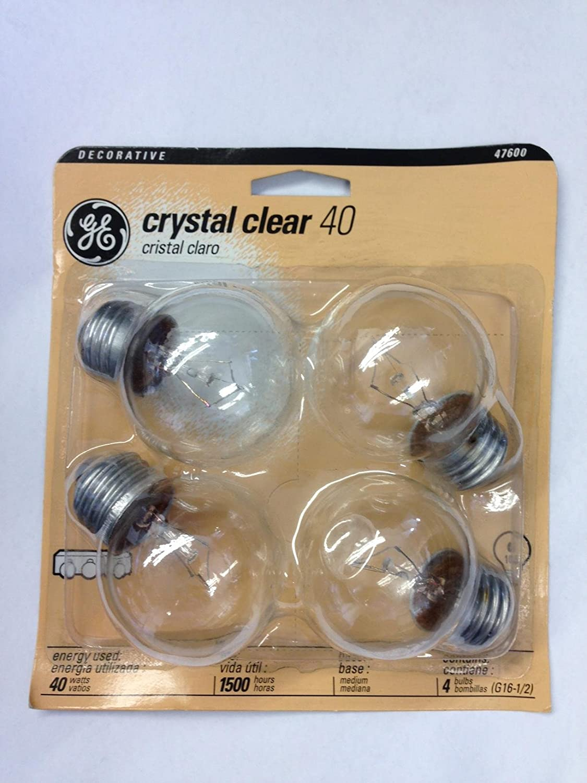 GE 47600 40-Watt Incandescent G16.5 Globe Crystal Clear Light Bulb (4-Pack) - - Amazon.com