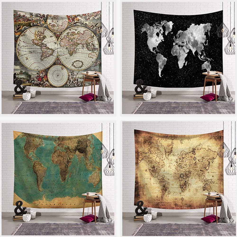 Tapiz Pared de Creativo,Morbuy Mapa del mundo 150 x 200 cm Decoración Tapices Mapa del mundo Impreso Tapicería Cubierta del Sofa Manteles Cortina ...