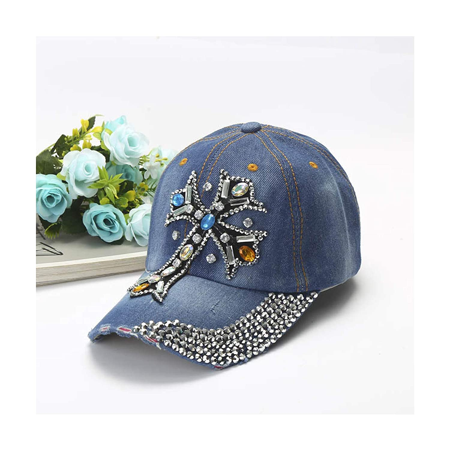 126db657a04 Deer Mum Women Studded Crystals Rhinestones Sequins Baseball Cap (0121blue)  at Amazon Women s Clothing store