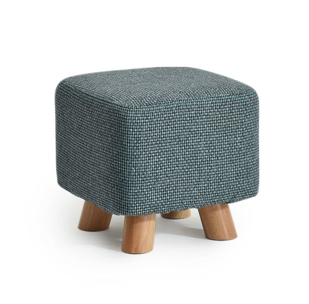 Green Footstools, Stool Solid Wood shoes Stool Square Sofa Stool Leisure Stool (color   Green)