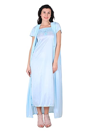 d903dd4fc Buy Shararat Women s Satin Nightdress Gown Online at Low Prices in India -  Amazon.in