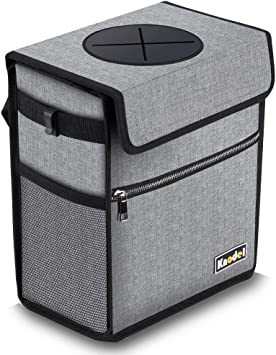 Can for Rubbish with Lid and Storage Pockets for Bottles Auto Trash Bag Keep It Clean CarBage Car Waste and Garbage Bin