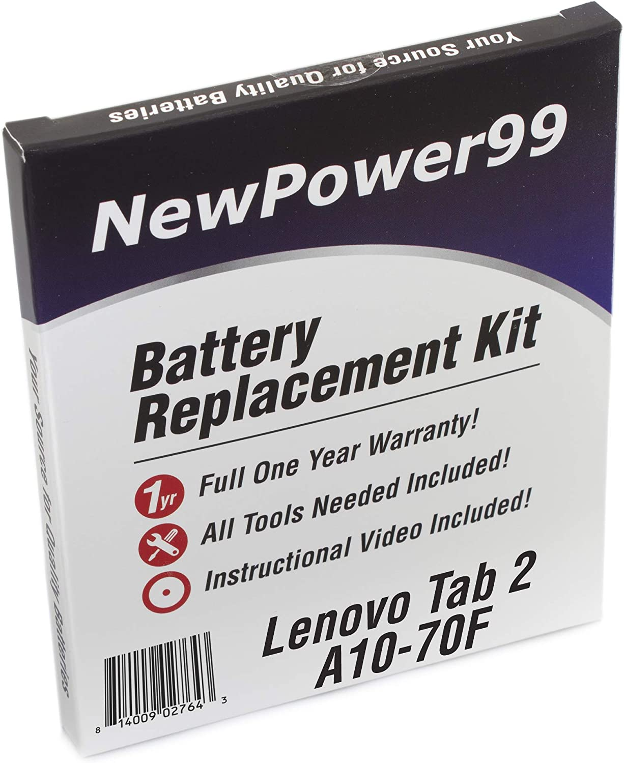 Battery Kit for Lenovo Tab 2 A10-70F with Tools, How-to Video, Battery from NewPower99