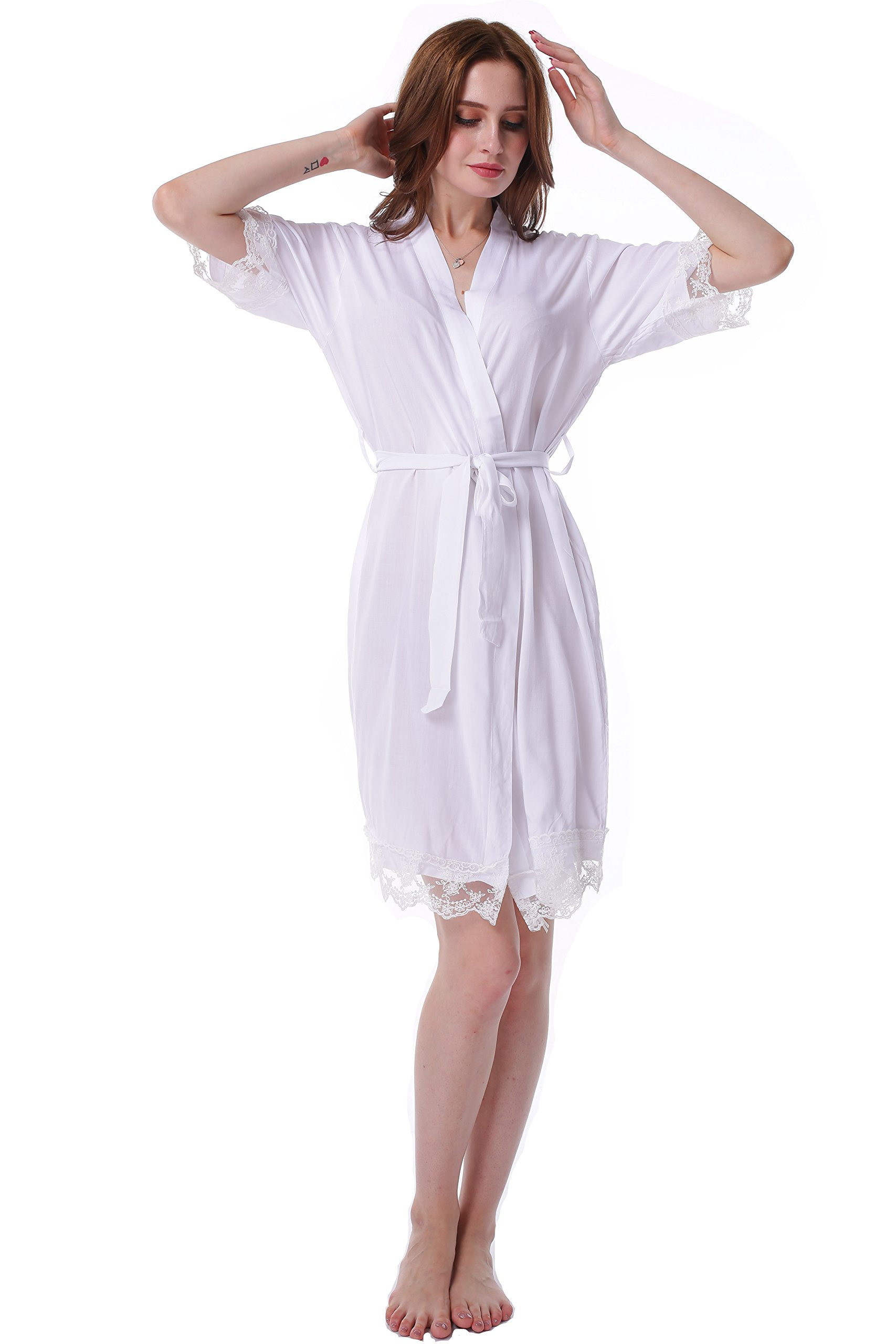 Juntian Robes Lace Cotton for Women's Bridesmaid and Bride Wedding Robes Bridal Party Robes and Short Sleeves Robes