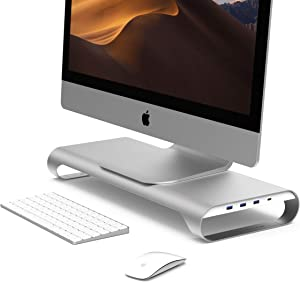 MONITORMATE ProBASE C Aluminum Monitor Stand with USB3.0 hub/BC1.2 USB Charging/Storage Drawer and External Power Supply(Silver)