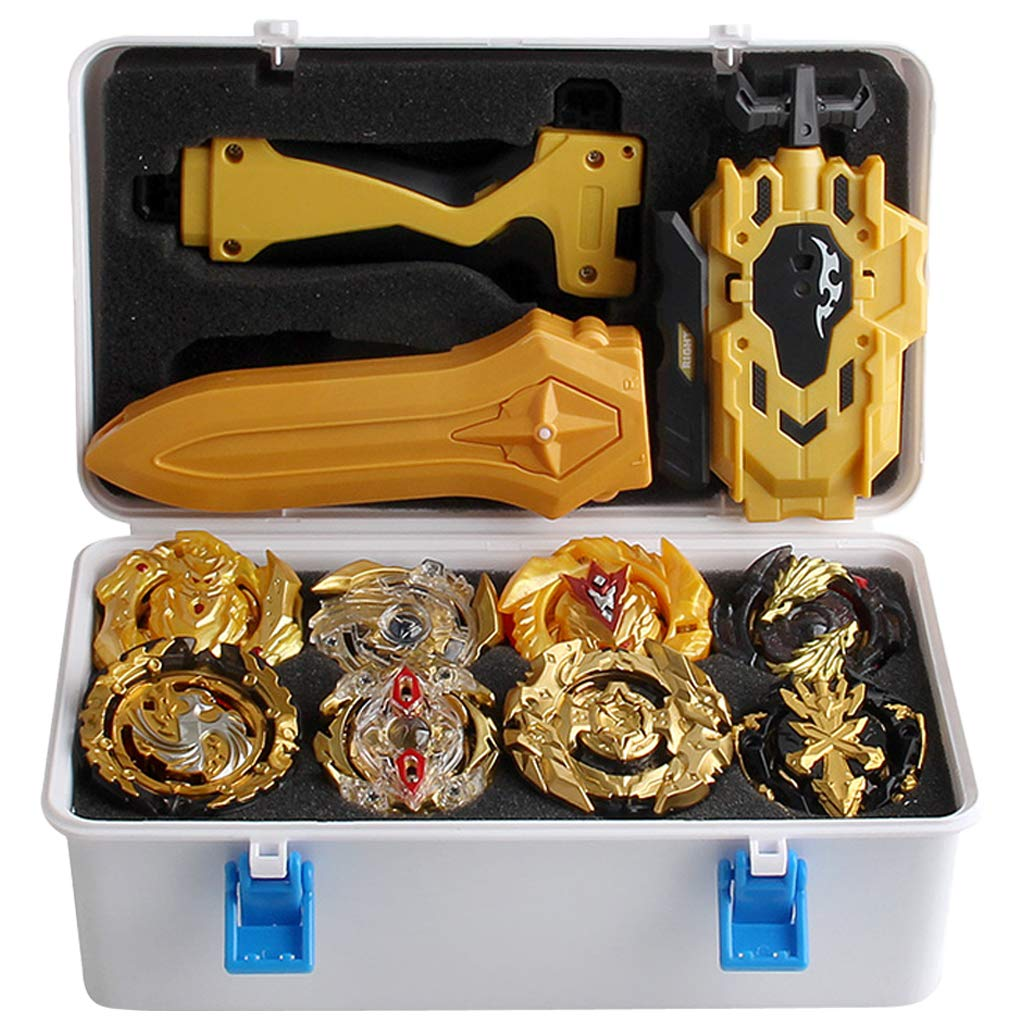Toygogo 12Pcs Golden Burst Grip Launcher Spinning Top Toys with White Suitcase by Toygogo