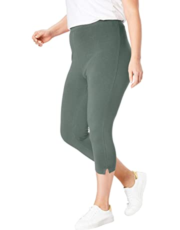 a18a7f8202fe8d Woman Within Women's Plus Size Stretch Cotton Capri Legging