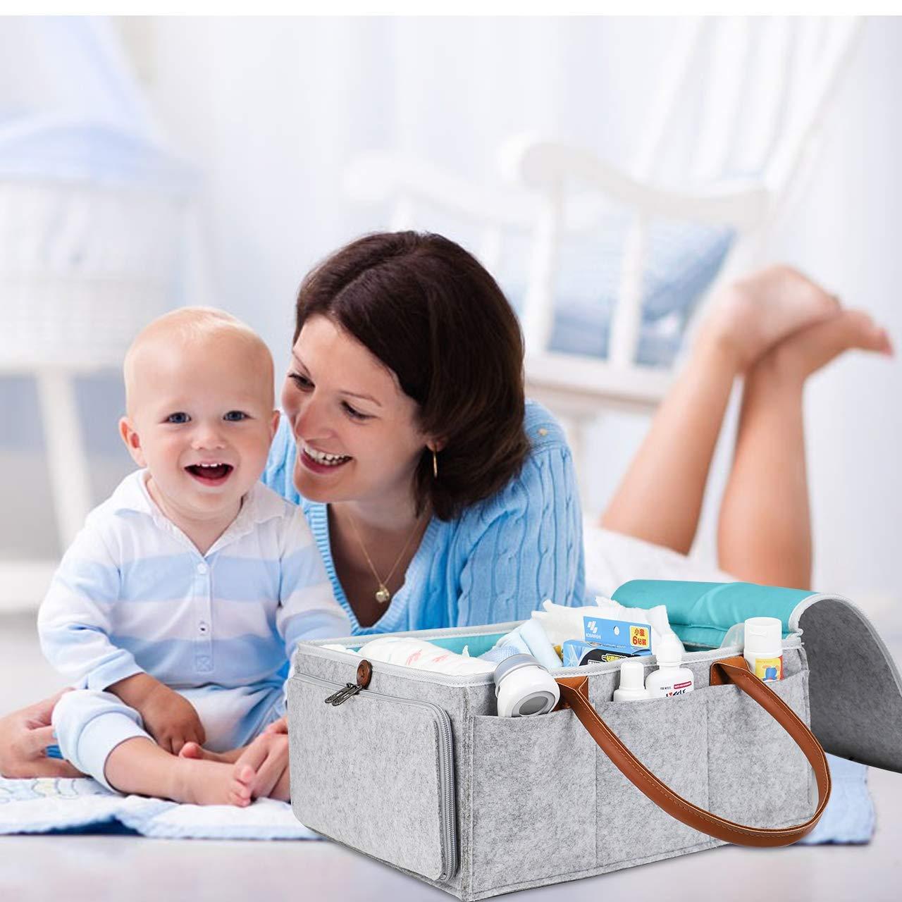 Baby Windel Caddy Organizer Filz Wickeltasche Windeltasche f/ür Unterwegs Einkaufskorb Filztasche Tragbar Grau