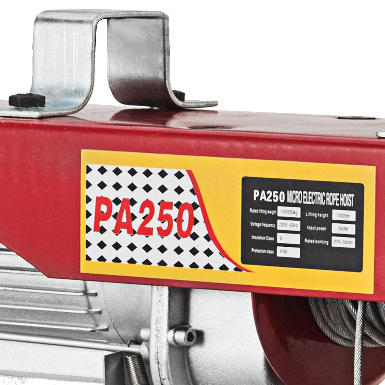 300KG Hopopular 300kg//660lbs Electric Trolley Hoist 6m//20ft Electric Hoist Winch Durable 650W Electric Forklift Steel Pallet Holder Lever Garage Hoist
