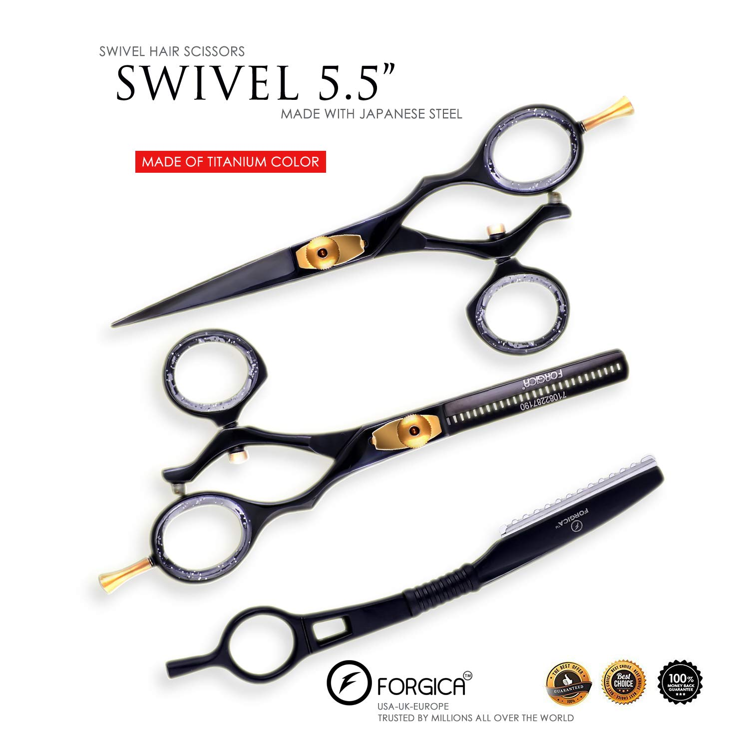 Hair Cutting Scissors/Thinning Shears/Professional Barber/Hair Straight Razor/Barber Scissors/Swivle Barber Shears with Fine Adjustment Screw Japanese Stainless Steel - Forgica (5.5) by Forgica