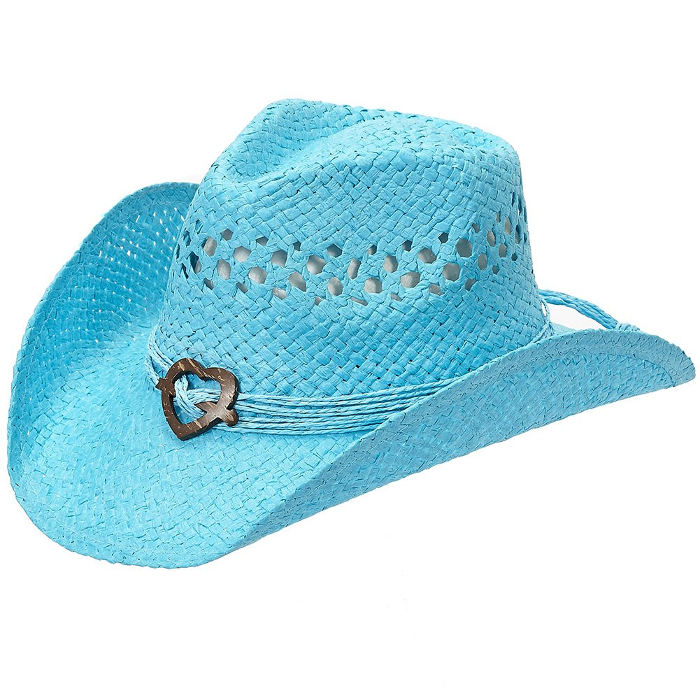 Port Classic Shapeable Straw Country Cowboy Hat, Heart (Turquoise)