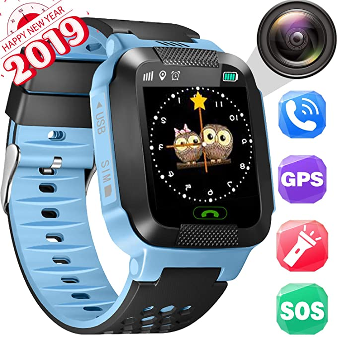 Kids Smartwatches, Smart Phone Watch, LBS+GPRS Locating, Phone Calls/Text and Voice Chat/Camera/Alarms/Flashlight/Maths Games/Environmental Material, ...