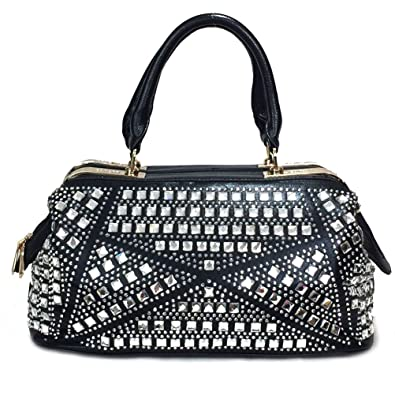 Zzfab Rhinestone Purse Gem Stone Doctor Bag Black  Handbags  Amazon.com 7feaee3642ae1