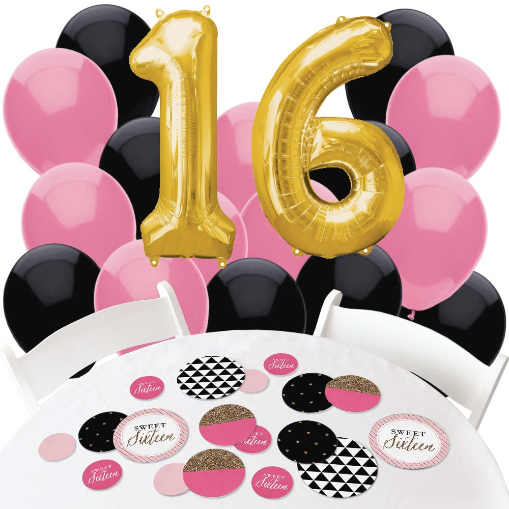 Chic 16th Birthday - Pink, Black and Gold - Confetti and Balloon Birthday Party Decorations - Combo Kit