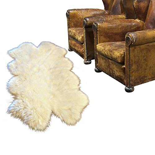 Plush Shag Sheepskin Rug, Warm Off White, Quatro, Four Pelt Design, Exclusive Bonded Suede No Slip Back