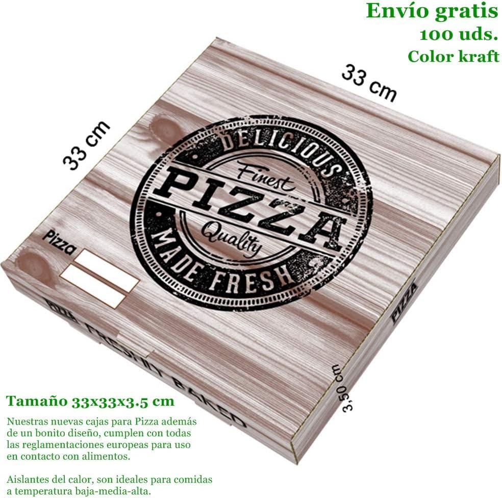 VASOMADRID, S.L. 100 UDS Cajas Pizza Cartón Kraft (de 26x26cm a 40x40cm). Caja ECOLÓGICA DESECHABLE para pizza Bonito DISEÑO: Amazon.es: Hogar