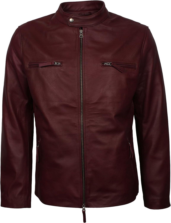 LeatherArtistics Retro Style Maroon Lambskin Leather Jacket For Men