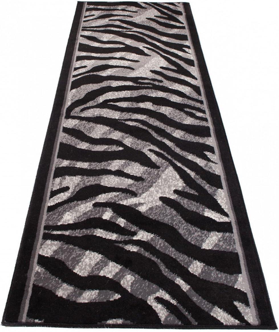 Tapiso Dream Tapis de Couloir Cuisine Design Moderne Noir Gris Animal Sauvage Z/èbre Doux Fin au M/ètre 60 x 50 cm