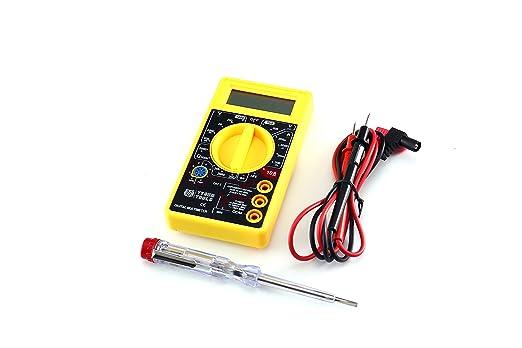 Multímetro Digital Portátil + Comprobador de Tensión GRATUITO- Medición de Voltaje AC/DC, Resistencia y Corriente - Color Negro/Amarillo
