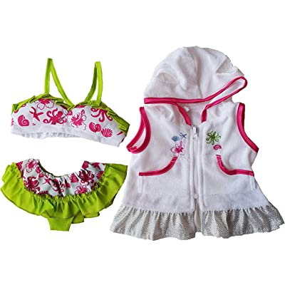 """Swimsuit & Coverup Outfit Teddy Bear Clothes Fits Most 14"""" - 18"""" Build-a-bear and Make Your Own Stuffed Animals : Toys & Games"""