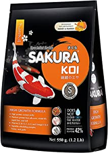 Sakura Koi & Goldfish Food Floating Pellets High Protein 42% Highly Nutritious for Growth Fast Formula Big Muscle & Mass Gain, Color Enhancing, Tropical Fish Feed