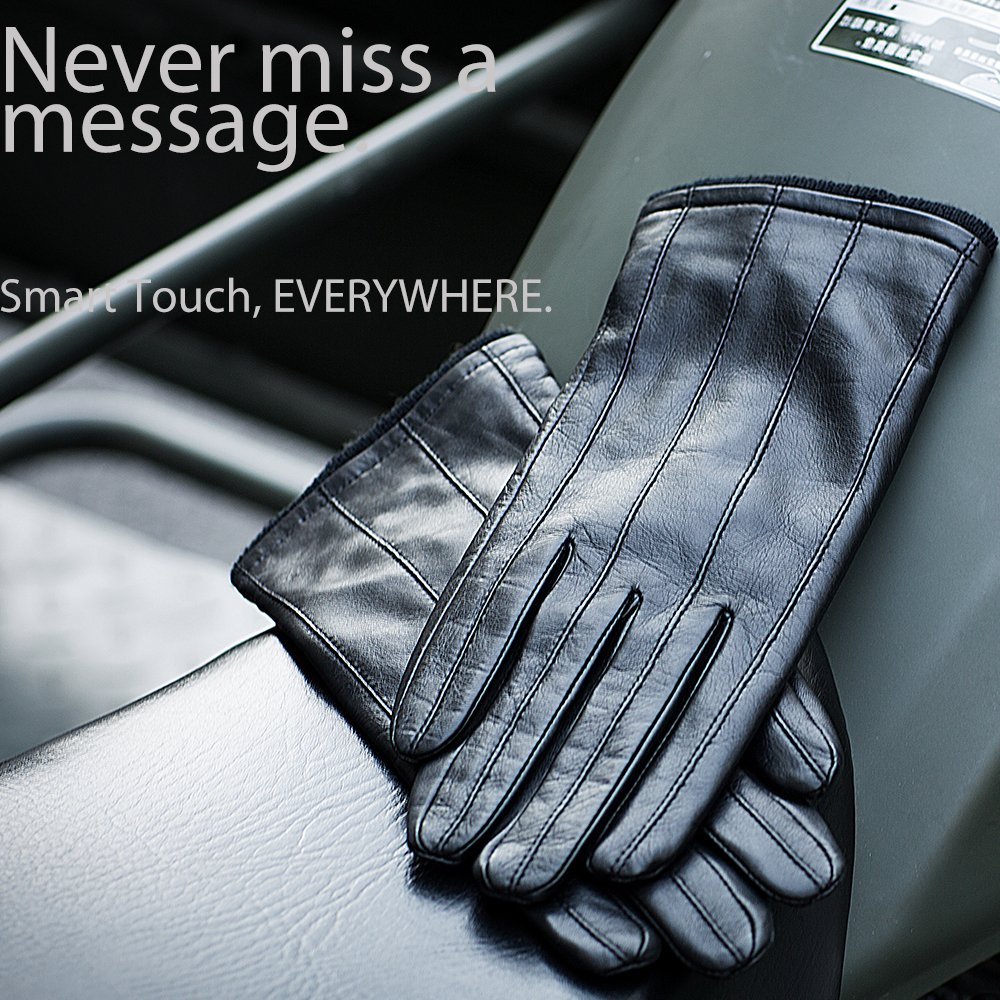 YISEVEN Men's Genuine Nappa Leather Lined Winter Gloves -Black/Touchscreen,Black,11'' by YISEVEN (Image #6)