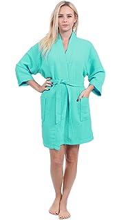 Turkuoise Women s Turkish Cotton Knee Length Lightweight Bridesmaids Waffle  Kimono Robe 90c895b7b