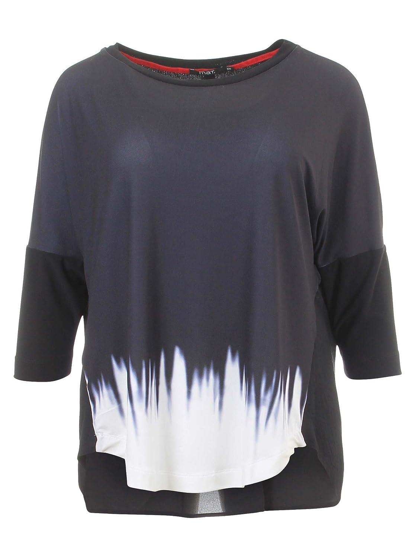 Langarmshirt mit Farbverlauf in schwarz/weiß in Übergrößen (M/L, S/M) von mat