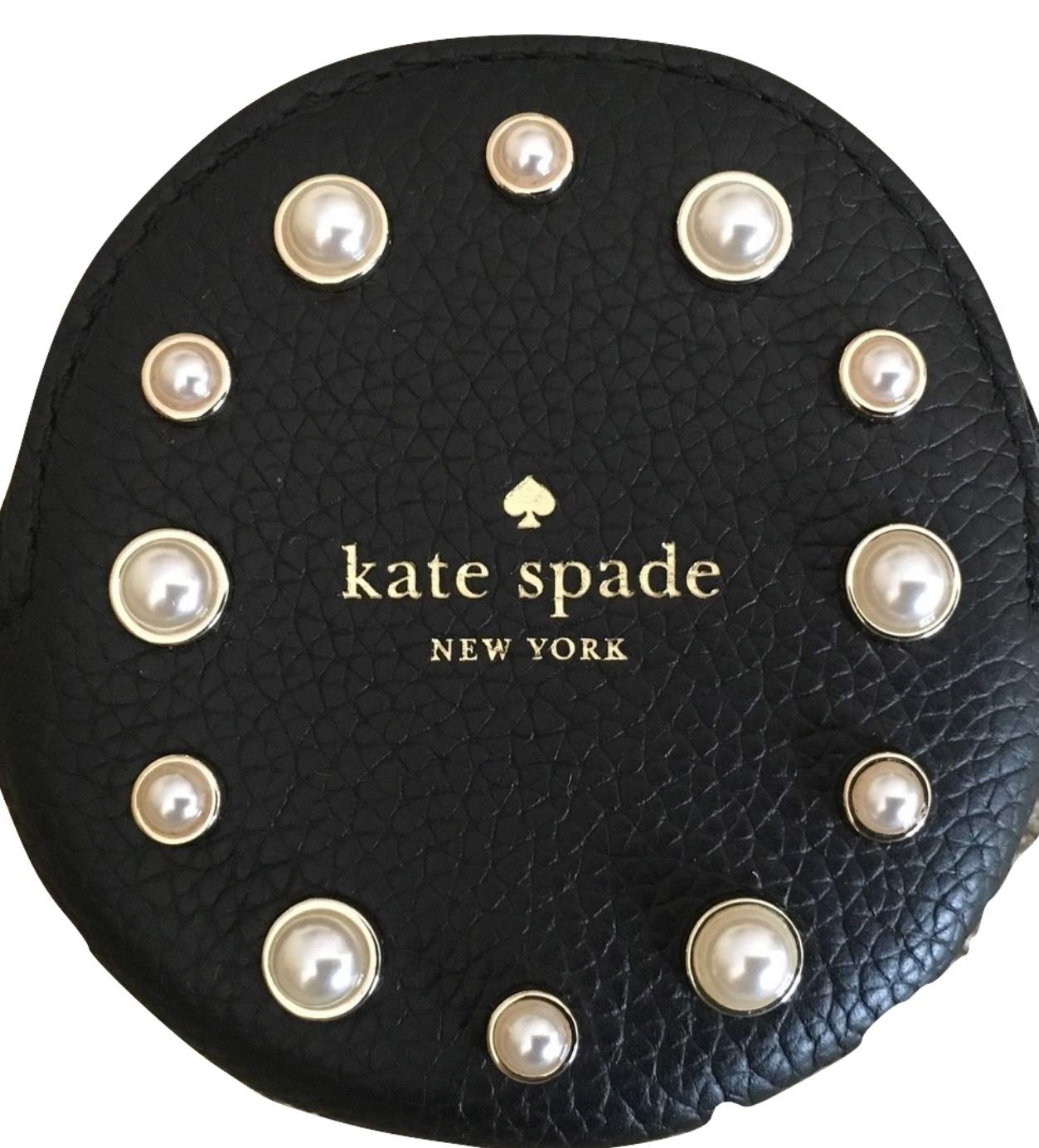 Kate Spade Black Pearl Coin Purse Round Leather Small Keychain