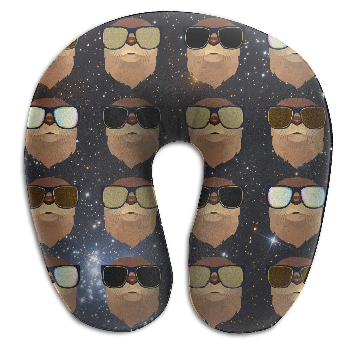 Wodehous Adonis Comfortable Funny Otter with Glasses Memory Foam Neck Pillows Neck-Supportive Travel Pillow