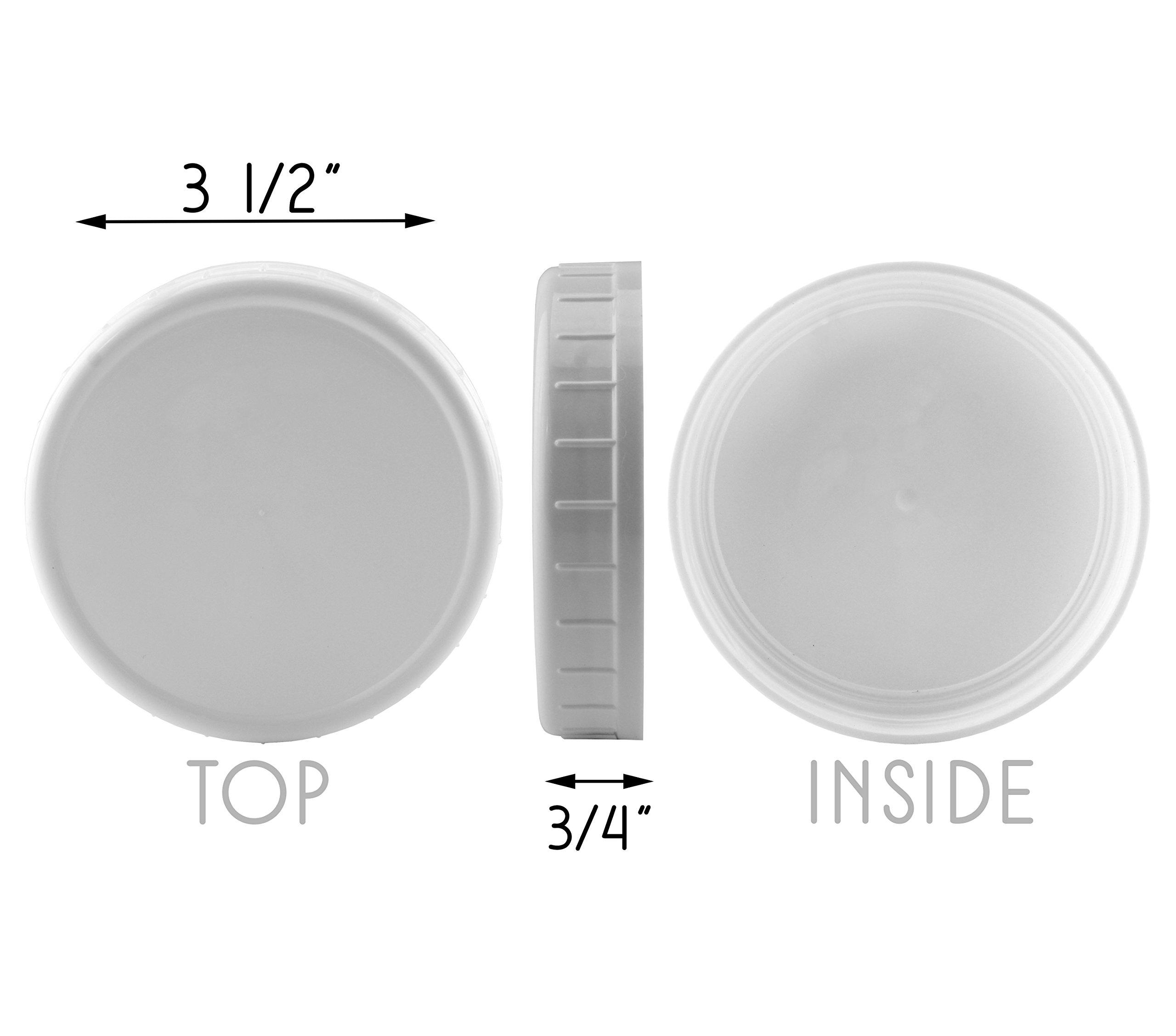 Two Dozen Wide Mouth Plastic Mason Jar Lids (24-Pack Bundle); 2 Dozen Unlined White Ribbed Lids, 86-450 Size by Cornucopia Brands (Image #3)