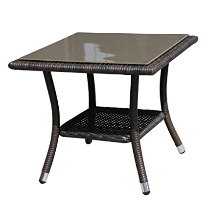 Super Patio Outdoor Patio Wicker Rattan Table Rattan Square Glass Top  Wicker Coffee Table End Side