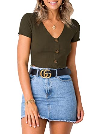 0b067876ce93 Joeoy Women's Army Green Fitted Button Front Ribbed Crop Tops Basic Tee  Short Sleeve Shirts-