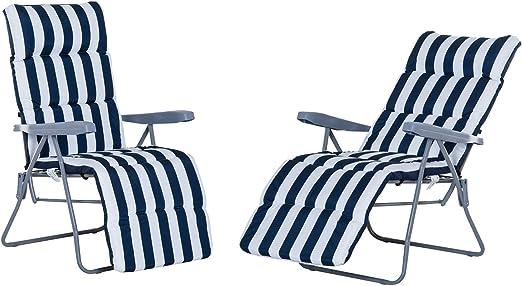 Pack de 2 Tumbonas Acolchadas Plegables y Reclinables con Reposapiés para Playa o Camping - Azul y Blanco - Acero - 58x90x110cm: Amazon.es: Jardín