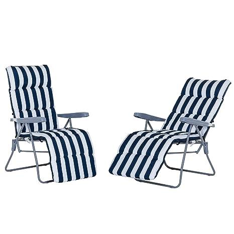 Pack de 2 Tumbonas Acolchadas Plegables y Reclinables con Reposapiés para Playa o Camping - Azul y Blanco - Acero - 58x90x110cm