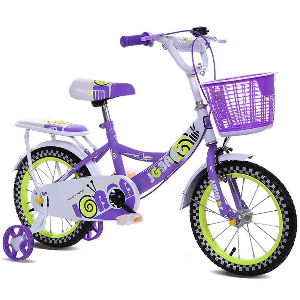子供用自転車12/14/16インチガールベビーキャリア2-4-3-3-5/4-7歳の自転車高炭素鋼フレーム、ピンク/ブルー/パープル (Color : 16 inch purple) B07D29B4JZ