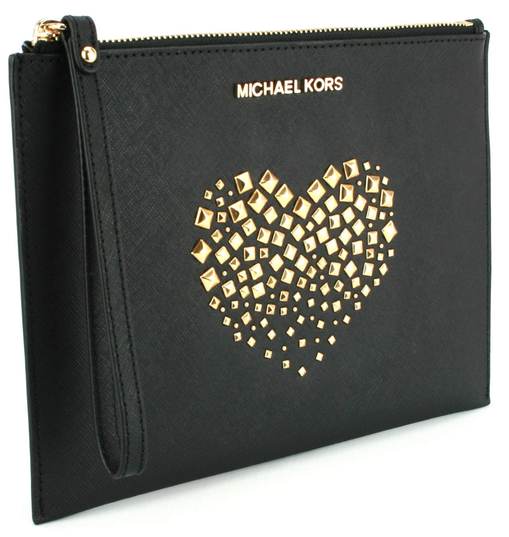 Michael Kors Jet Set Heart Studded XL Giftables Zip Leather Clutch Wristlet (Black)