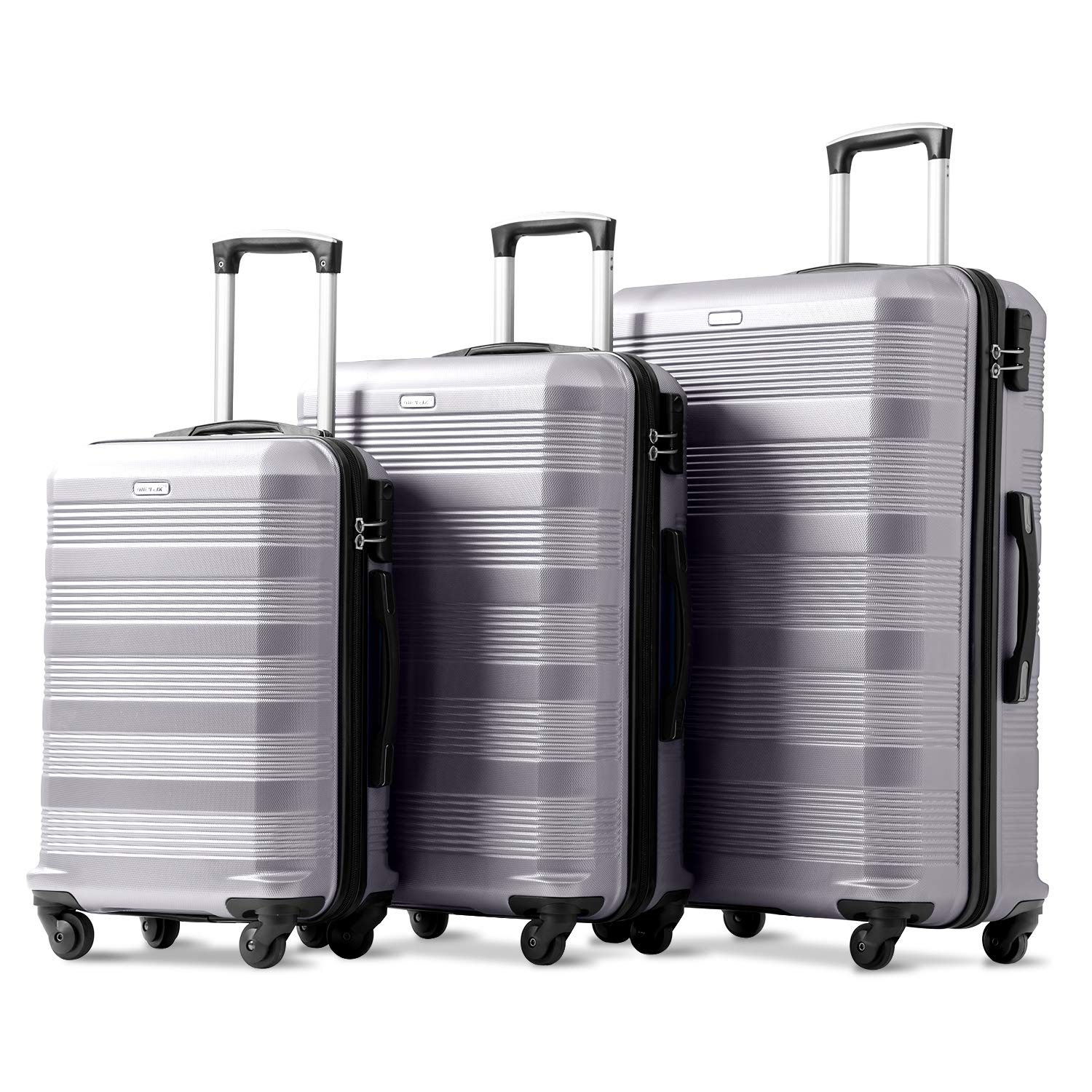 88abcd417b Merax 3 Pieces Luggage Set ABS Hard Shell Lightweight Spinner 4 Wheels Suitcase  Luggage Set of