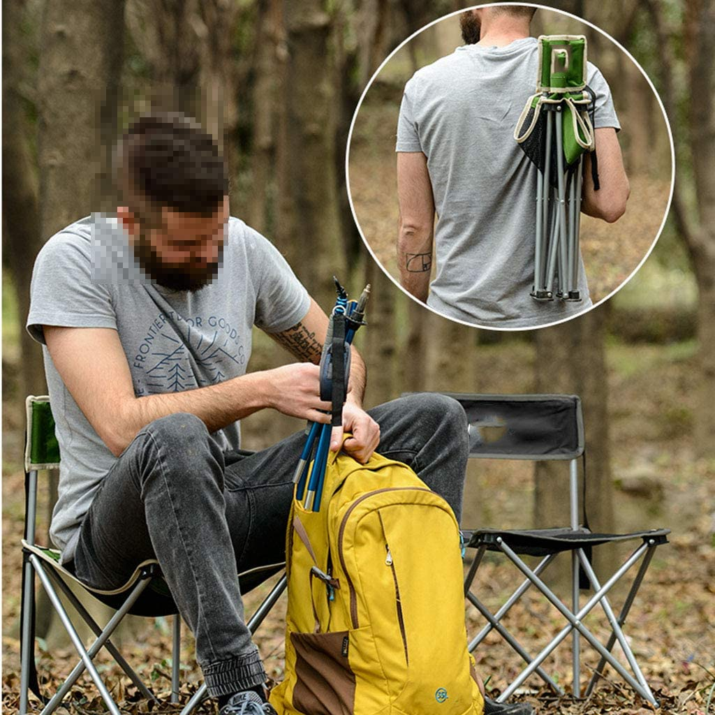 YANGFH Outdoor Portable Fishing Stool Back Is Folded Divan Barbecue Camping Chairs (37 * 37 * 57cm) Folding chair (Color : Green) Black